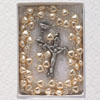 4mm Tin Cut Crystal Bead With Fine Pewter Center & Crucifix