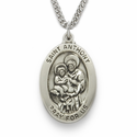 "Sterling Silver Engraved Oval St. Anthony Medal on 24"" Chain"