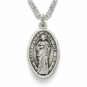 "Sterling Silver Engraved Oval St. Jude Medal on 20"" Chain"