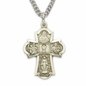 "Sterling Silver Engraved Boy's Four Way w/Communion Chalice Medal on 18"" Chain"