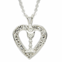 CZ STones Heart/Chalice with Lace Pouch