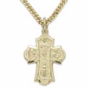 14 Gold Filled Engraved Boy's  First Communion Four Way Medal