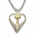 "Sterling Silver 2-Tone Heart with Chalice on 18"" Chain"