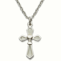 "Sterling Silver Rhodium Finish White Enameled Cross Necklace with Chalice on 18"" Chain"