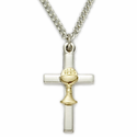 "Sterling Silver 2-Tone Cross Necklace with Chalice on 18"" Chain"