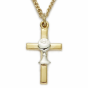 "14K Gold over Sterling Silver 2-Tone Cross Necklace with Chalice on 18"" Chain"