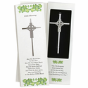 "7"" Silver Plated Cross With Celtic With Celtic Cross Design"