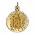 "7/16"" Small 14K Gold Small Round St. Christopher Medal With Polished Border"