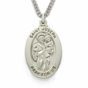 "Sterling Silver Engraved Oval St. Joseph Medal on 24"" Chain"