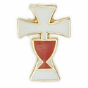 "1/2"" x  3/8""  White  Cross with Red Cup Enameled Lapel Pin"