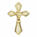 "3/4"" x 1/2"" Gold/White Lapel Cross with Chalice Pin"
