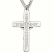"Sterling Silver Crucifix Necklace with ""Our Lords Prayer"" Stamped on Back on 24"" Chain"