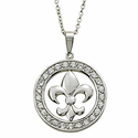 Sterling Silver Fleur De Lei Circle Pendant with Crystal CZ Stones