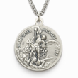 "Men's Sterling Silver Army Medal, St. Michael on Back on 24"" Chain"