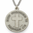 "Men's Sterling Silver Navy Medal, Cross on Back on 24"" Chain"