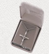 "Sterling Silver Engraved Celtic Crucifix on 18"" Chain"