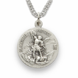 """3/4""""  Sterling Silver Army Medal, St. Michael on Back on 20"""" Chain"""