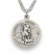 "3/4""  Sterling Silver Air Force Medal, St. Michael on Back on 20"" Chain"