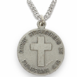 "3/4""  Sterling Silver Army Medal, Cross on Back"