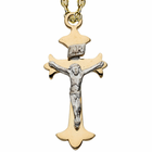 "Sterling Silver 24K Gold Finish Two Tone Crucifix on 18"" Chain"