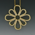 24K Gold Over Sterling Silver Flower Necklace with Crystal CZ Stones