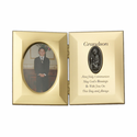 """8"""" x 5"""" Grandson's First Communion Hinged Gold Plated Metal Photo Frame with Kneeling Boy"""