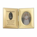 "8"" x 5"" Granddaughter's First Communion Hinged Gold Plated Metal Photo Frame with Kneeling Girl"