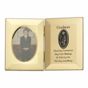 """8"""" x 5"""" Godson's First Communion Hinged Gold Plated Metal Photo Frame with Kneeling Boy"""