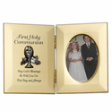 "8"" x 5"" First Holy Communion Hinged Gold Plated Metal Photo Frame with Chalice"