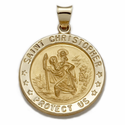 "3/4"" 14K Gold Large  Round St. Christopher Medal (Hollow Medal)"