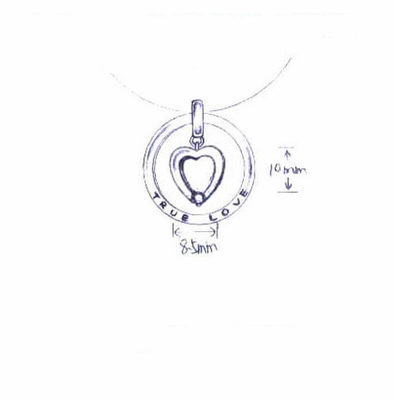 "Sterling Silver Necklace ""True Love"" Ring with Dangling Centered Heart"