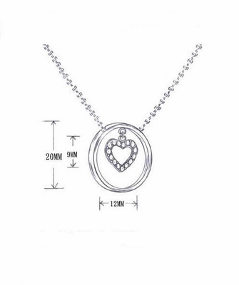Sterling Silver Necklace Ring Dangling Centered Heart with Diamond-Like Stones