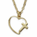 Gold Plated Heart with Cross