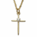 Gold Plated Cross Necklace with Pearl in the Center