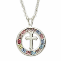 Colored Stone Circle with Centred Cross Necklace