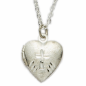 Silver Plated Heart Locket Etched Cross
