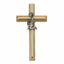"8"" Oak/Screened Brass Crosses with Fine Pewter Praying Boy Casting"