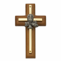 "4 1/2"" Wood/Brass Cross with Fine Pewter Chalice Casting"