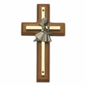 "4 1/2"" Wood/Brass Wall Cross with Fine Pewter Praying Girl Casting"