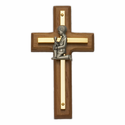 "4 1/2"" Wood/Brass Wall Cross with Fine Pewter Praying Boy Casting"
