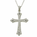 Sterling Silver Real Diamond Cut Cross Necklace in a Budded Ends Design