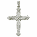 Sterling Silver Real Diamond Cut Cross Necklaces in a Budded Ends Design