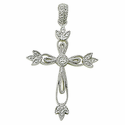 Sterling Silver Real Diamond Cut Cross Necklaces in a Filigree Design