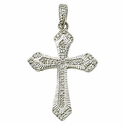 Sterling Silver Real Diamond Cut Cross Necklace in a Pointed Ends Design