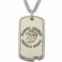 Sterling Silver U.S. Marines  Dog Tag with Cross on Back