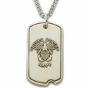 Sterling Silver U.S. Navy  Dog Tag with Cross on Back