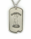 "Sterling Silver U.S. National Guard Dog Tag, St. Michael on Back on 24"" Chain"