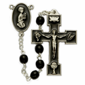 5mm Black Wood Beads and Black Enameled Praying Boy Center Rosary
