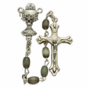6 x 4mm Black Pearl Beads and Chalice Center Rosary