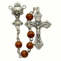5mm Brown Wood Beads and Chalice Center Rosary
